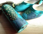 Wedding Shoes and bag something blue  teal peacock