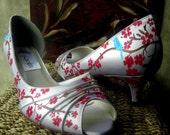 Wedding Shoes painted Cherry blossom blue twitter bird
