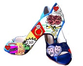 Personalized Wedding Shoes Names and Date Retro Pop Kitsch