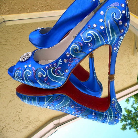 Items Similar To Blue Wedding Shoes Peep Toe Something Blue Shoes Sapphire Blue Shoes Beach
