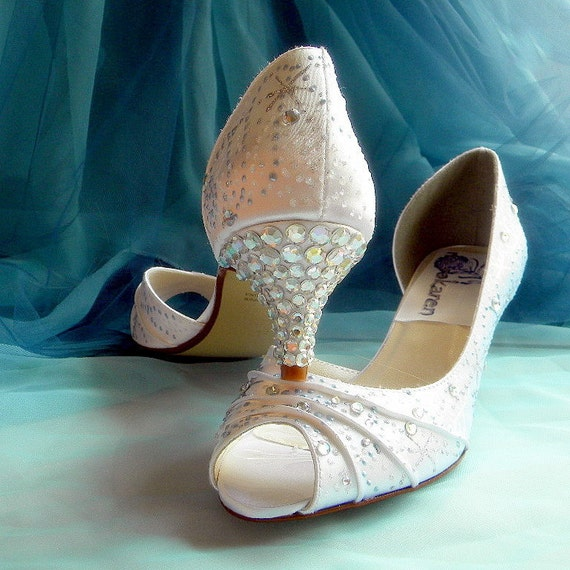 Wedding shoes winter snowflakes swirls baby blue crystals