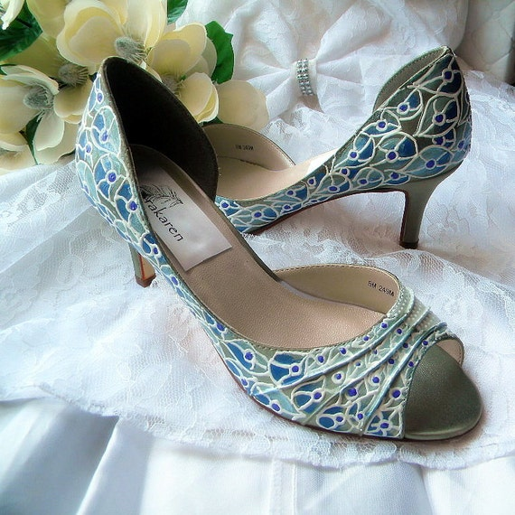 Wedding Shoes Sage Green Painted Shoes Albino By Norakaren