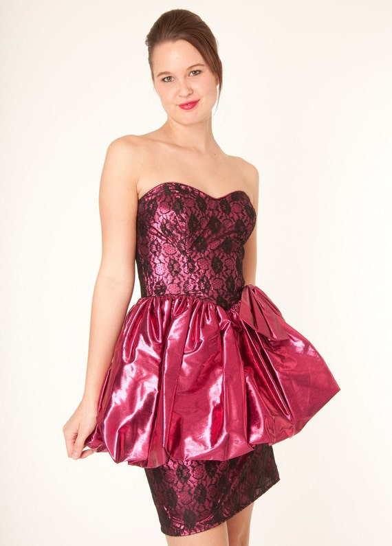 Vintage 80s Metallic Pink And Black Lace Gunne Sax Party Prom