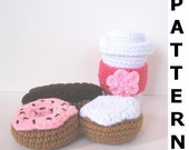 Play Food Crochet Pattern for Coffee and Donuts