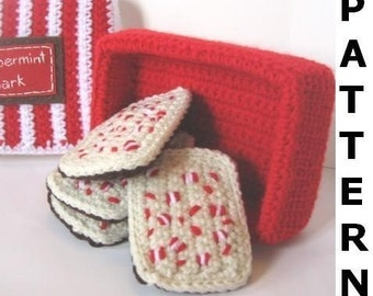 Play Food Crochet Pattern - Peppermint Bark and Hot Cocoa
