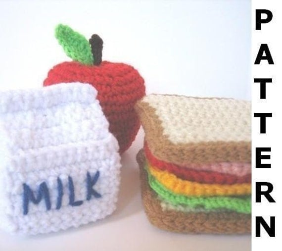 Play Food Crochet Pattern - Lunch Play Set