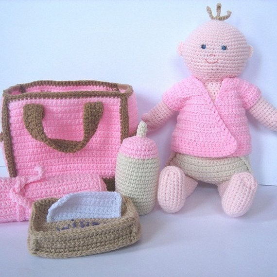 Crochet Baby Diaper Bag Patterns : Crochet Pattern Baby Doll with Diaper Bag
