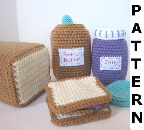 Crochet Patterns Free Food : Play Food Crochet Pattern Peanut Butter and Jelly