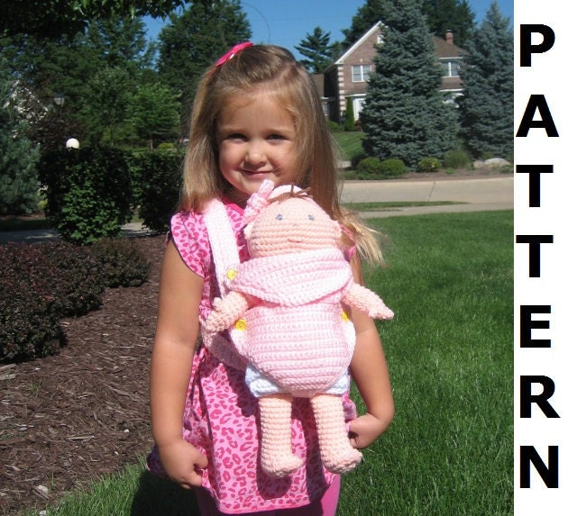 Crochet Pattern For Doll Sling : Crochet Pattern for Baby Doll Carrier and Portable Bassinet