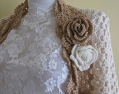Crocheted Ivory cotton shrug..-Caramel