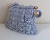 Knitted Grey handmade  bag.crochet,fall,winter fashion,bag and purse,knit handle.accessories,spring fashion.