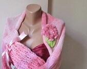 Knit, shrug,pink,crochet flower.Handmade.OOAK.fashion.winter accessories.free shipping