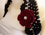 BIG DISCOUNT:Knitted Ivory shrug with black border