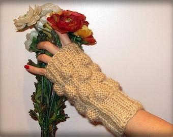Knitted Beige mohair fashion fingerles gloves for precious ladies.OOAK