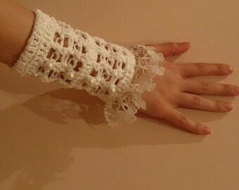 Crochet Bridal fingerless ivory mittens..wedding time coming soon.