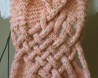 New year Sale,Handknitted braid Pink shawl-poncho,scarf