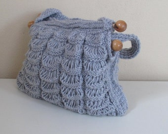 Knit Grey handmade  bag, crochet, fall  winter fashion bag , bag and purse, knit handle. accessories, spring fashion.