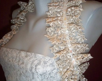 Handmade Shoulder Wrap, wedding Bridal Ruffled Shoulder Wrap ,  Beige Lace,  lace  Shoulder Wrap