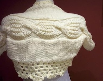 Hand knit Shrug,IVORY  -plait style.Ready to ship.