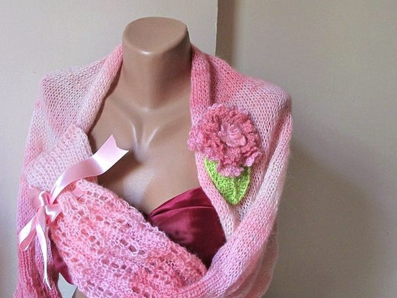 Knit, shrug,pink,crochet flower.Handmade.OOAK.fashion.winter accessories.free shipping
