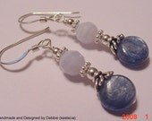 Genuine Kyanite and Blue Lace Agate Sterling Silver Earrings