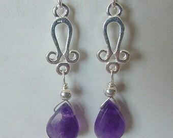 Genuine Amethyst Sterling Silver Dangle Earrings