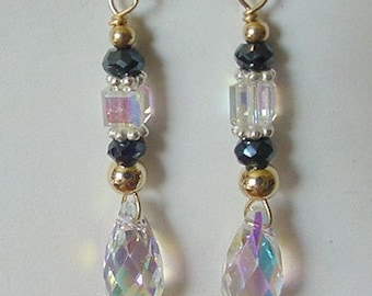 14K Gold-Filled/Sterling Silver Earrings Made With Black Spinel and Swarovski AB Crystals