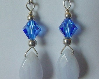 Sterling Silver Earrings Made With Blue Lace Agate and Swarovski Sapphire Colored Crystals