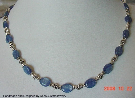 Genuine Kyanite Sterling and Bali Silver Necklace