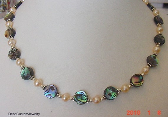 Abalone Shell and FW Peach Pearl Sterling Silver Necklace