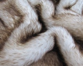Toasted Marshmallow - Chocolate tipped white 25mm pile synthetic faux fur fabric -1/4m piece