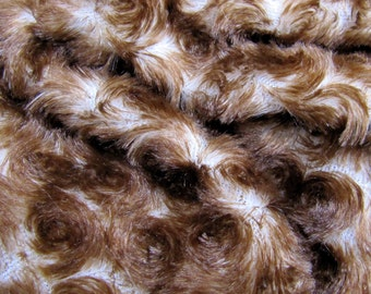 Chocolate Truffle - Budget Plush -  white with brown tips powder soft 10mm swirl pile synthetic faux fur fabric - 1/4m piece