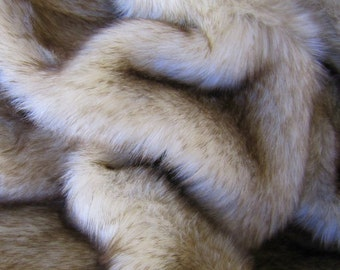 Husky Pup - cream with chocolate tip 25mm pile synthetic faux fur fabric -1/4m piece