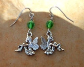 Fairy earrings Green crystal fairy charm earrings