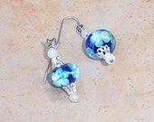 Blue Floral Lampwork and snow quartz earrings