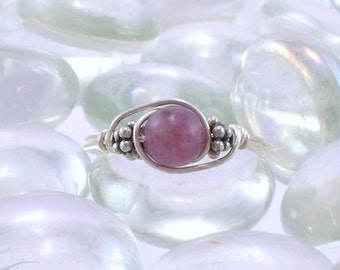 Lepidolite Sterling Silver Bali Bead Ring - Any Size