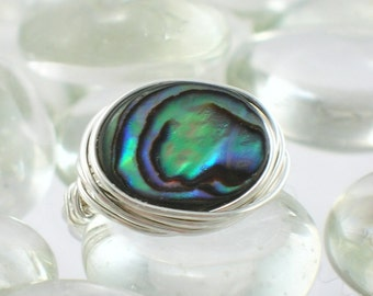 Paua Shell Sterling Silver Wire Wrapped Ring - Any Size