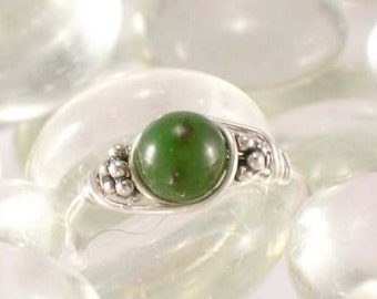 Nephrite Jade Sterling Silver Bead Ring - Any Size