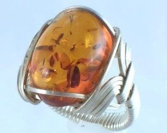Baltic Amber Sterling Silver Wire Wrapped Ring