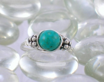 Turquoise Sterling Silver Bali Bead Ring - Any Size