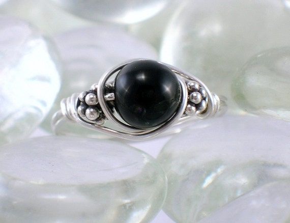 Black Onyx Bali Sterling Silver Wire Wrapped Ring