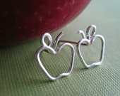 Apple Earrings - Sterling Silver Apple Stud Posts