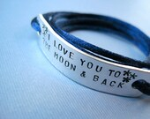 Personalized Aluminum Bracelet - I love you to the moon & back - Custom Wrap bracelet, Cord Color Option