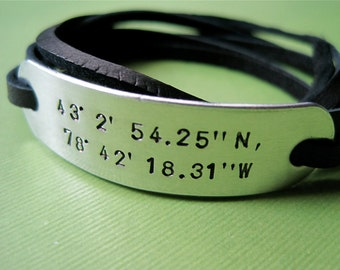 Custom Latitude Longitude Bracelet - Personalized Coordinates Bracelet - Leather Wrap