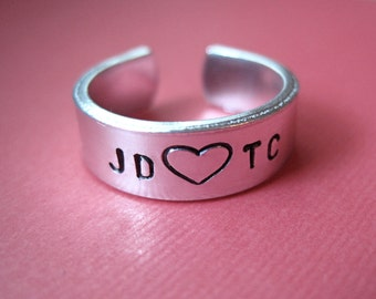 Personalized Ring - Initials Custom Ring - 1/4 inch
