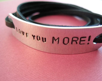 Personalized Bracelet - Custom Wrap Bracelet - Hand Stamped Aluminum