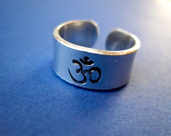 Personalized Ring - Om -  3/8 inch, Aluminum, Adjustable