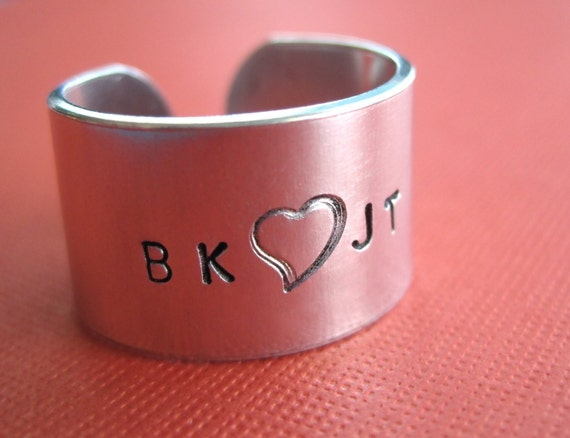 Personalized Ring - Custom Ring - Hand Stamped Aluminum Ring - 1/2 inch