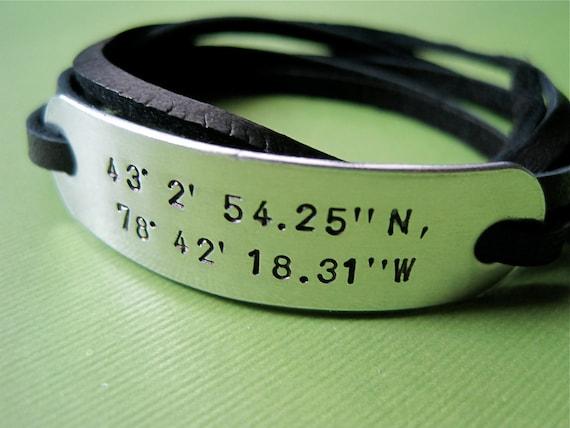 Custom Latitude Longitude Bracelet - Personalized Coordinates Bracelet - Leather Wrap