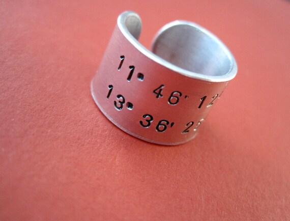 Coordinates Ring - Personalized Latitude Longitude Hand stamped Ring - 1/2 inch, Aluminum, Adjustable